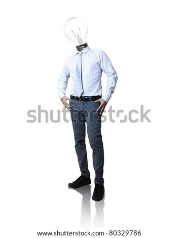 Businessman , light bulb head - stock photo