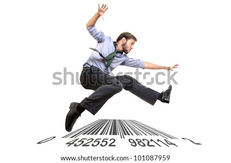 Businessman long-jumping over a code bar isolated in white - stock photo