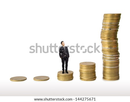Businessman look at coins