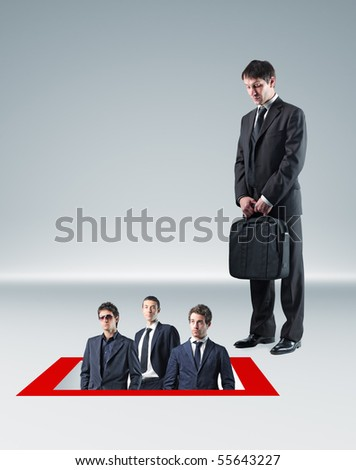 businessman look other men in hole - stock photo