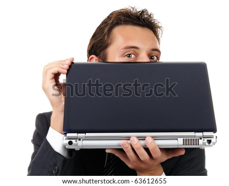 businessman look out from laptop. Portrait isolated on white - stock photo