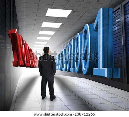 Businessman looking at 3d blue and red binary code in data center hallway - stock photo
