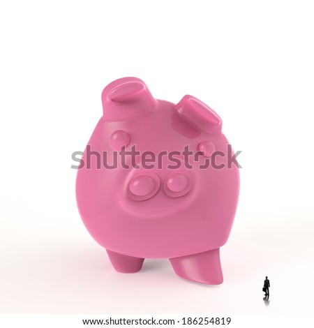 businessman looking at 3d piggy bank standing as concept