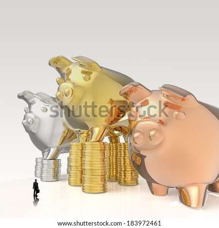 businessman looking at 3d piggy bank standing on coins as concept