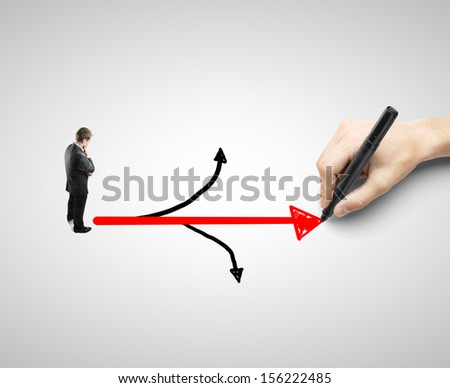 businessman looking at drawing arrow