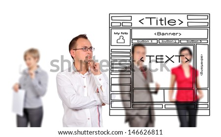 businessman looking at drawing template web page - stock photo