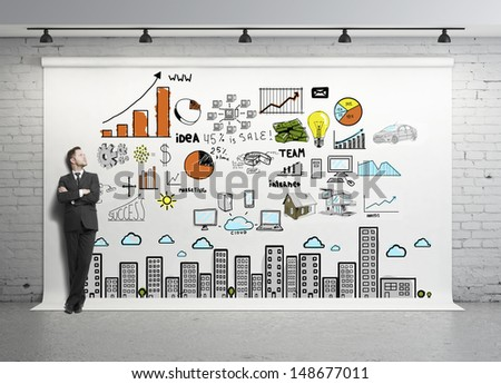businessman looking at global concept on white backdrop - stock photo