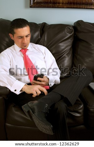 Businessman Looking at his PDA on the Couch