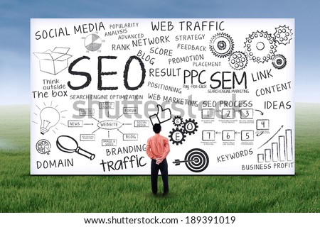 Businessman looking at seo design on whiteboard. Shot outdoors - stock photo