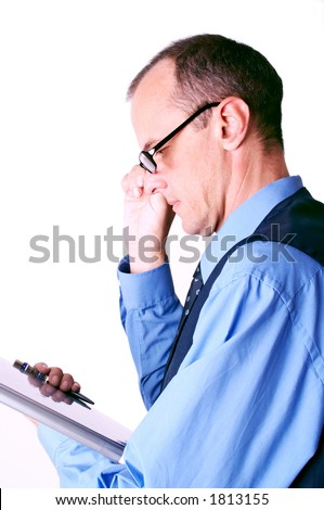 businessman looking at the file - stock photo