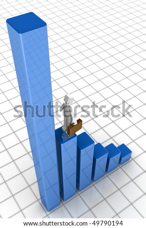 Businessman looking at the growing financial chart 3d illustration - stock photo