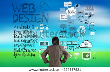 businessman looking at web design and diagram icons on blur nature background as concept  - stock photo