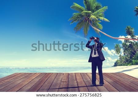 Businessman Looking Exploring Surveillance Journey Leadership Vision Concept - stock photo