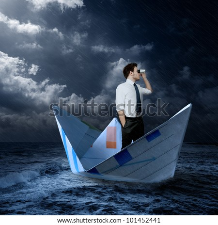 Businessman looking for new opportunities - stock photo
