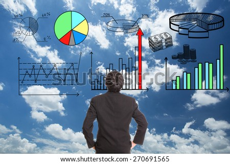Businessman looking growing graph in stock marketing. - stock photo