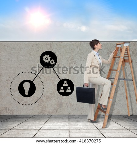 Businessman looking on a ladder against blue sky with white clouds - stock photo