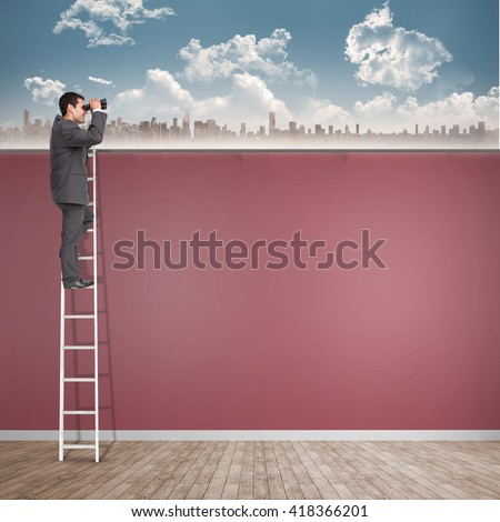 Businessman looking on a ladder against room with wooden floor - stock photo