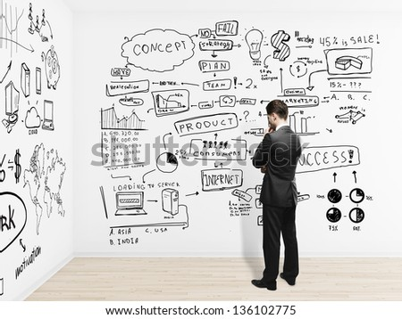 businessman looking on plan business concept on wall - stock photo