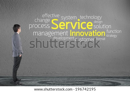 Businessman looking Service Innovation text wording in cloud concept