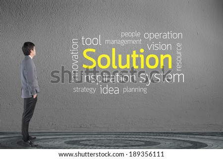 Businessman looking Solution text wording in cloud concept