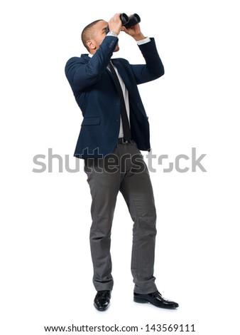 Businessman Looking Through Binocular Over White Background - stock photo