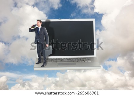 Businessman looking through binoculars against blue sky with white clouds - stock photo