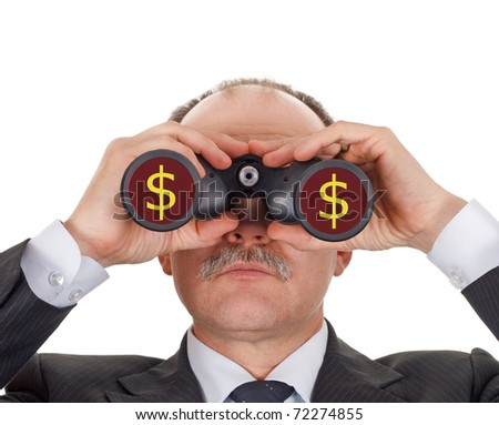 Businessman looking through binoculars-isolated on white