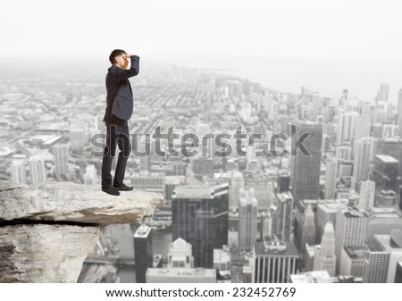 Businessman looking to the future  Business concept