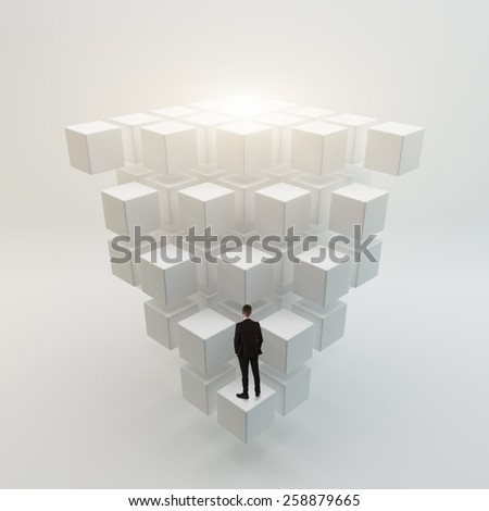 Businessman looking to the future concept - stock photo