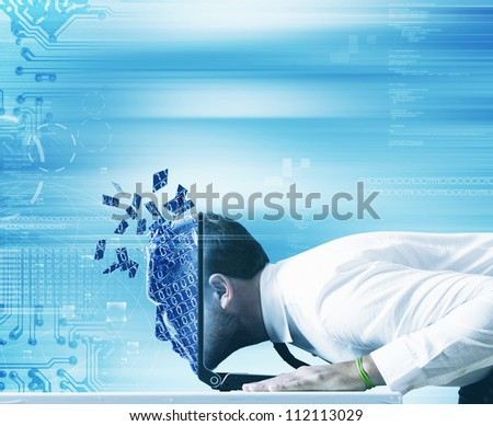 Businessman looking to the internet through the computer - stock photo