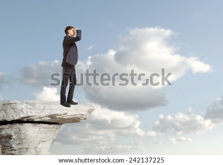 Businessman looking to the landscape  Business concept - stock photo
