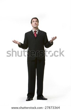 Businessman looking up
