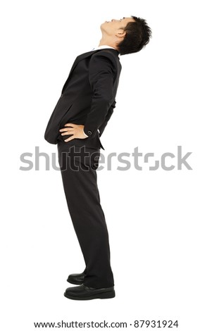 businessman looking up and isolated on white - stock photo