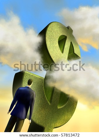 Businessman looking up to a giant dollar monument. Digital illustration.