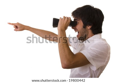 businessman looking with his binocular and pointing to the copy space - stock photo
