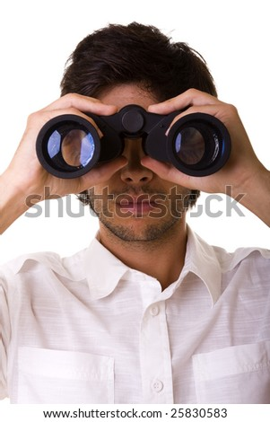 businessman looking with his binocular to the copy space - stock photo