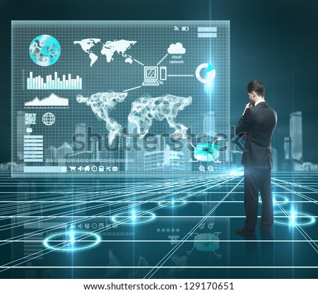 businessman looking world map on interface screen - stock photo