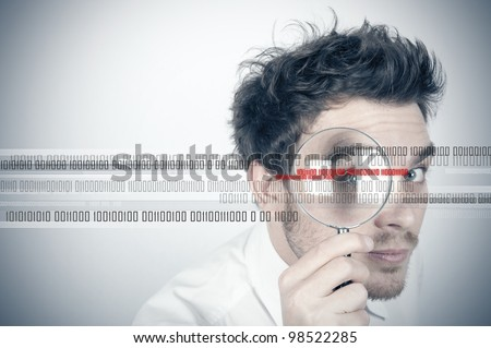 Businessman looks for the virus - stock photo