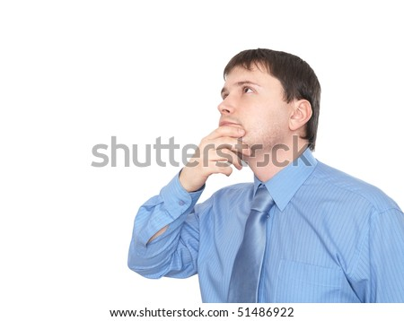 Businessman looks up in despair. Isolated on white - stock photo
