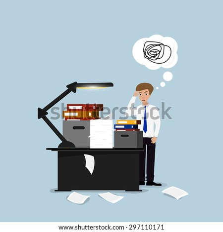 Businessman lot of work, a lot of paperwork. - stock photo