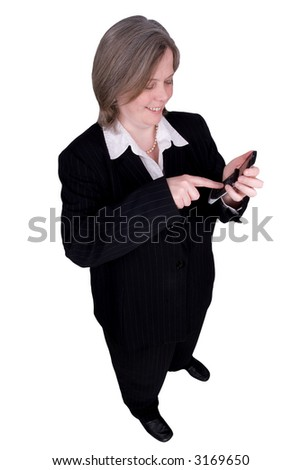 Businessman making a cell phone call isolated over white with a clipping path - stock photo