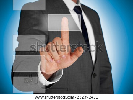 Businessman making a choice - stock photo