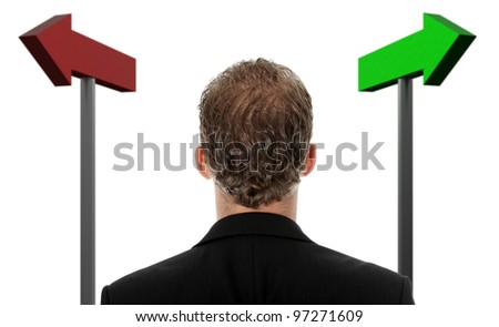 Businessman making a choice , isolated on white background - stock photo