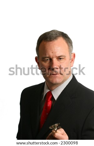Businessman making a point with serious expression