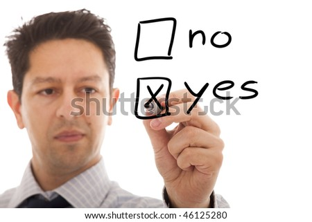 businessman making a positive decision - stock photo