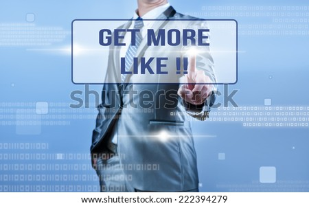 businessman making decision on get more like !! - stock photo