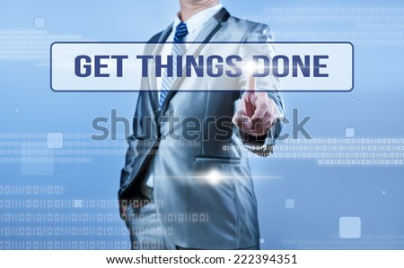 businessman making decision on get things done - stock photo
