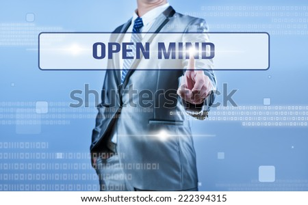 businessman making decision on open mind