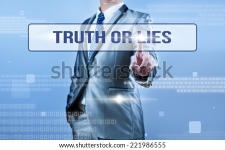businessman making decision on truth or lies - stock photo