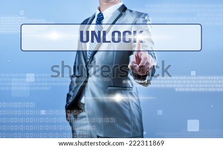 businessman making decision on unlock